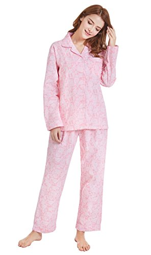 Tony & Candice Damen 100% Baumwolle Pyjama, Langarm Nachtwäsche / Loungewear (S=EU (36-38), Rosa Muster) (Gewebte Pyjama Hose Nachtwäsche)