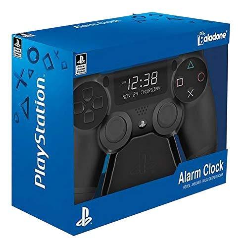 Paladone Playstation Digital Wecker | USB Reverse LCD mit Hintergrundbeleuchtung | Klassisches Playstation-Controller-Design | Verwenden Sie die Tasten D PAD &, um die Uhr zu steuern und einzustellen