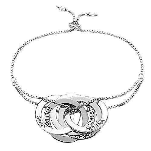 Zhaolian888 Pulsera con Nombre Personalizado para Mujer Grabado Entrelazado 2-5 Pulsera de Anillos rusos en Oro Plateado Oro Rosa
