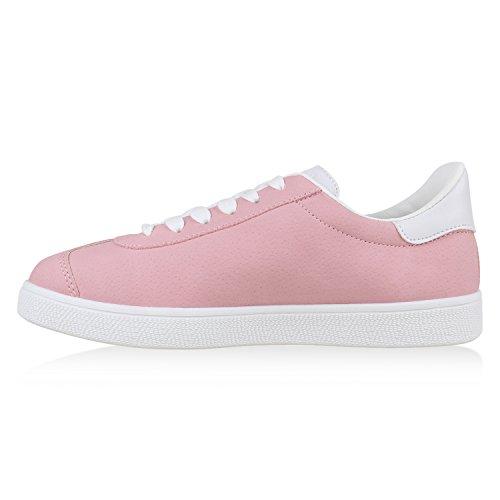 Damen Basic Sneakers Sportschuhe Freizeit Schuhe Schnürer Rosa