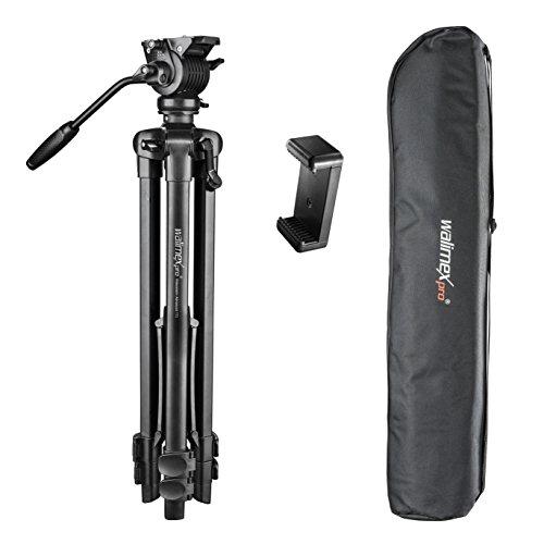 Walimex pro Advanced 173 SH - leichtes und stabiles Video Stativ mit Fluidkopf, Höhe 173 cm, inkl. Tragetasche und Smartphone Halter, ideal zum Filmen mit DSLR Kamera und Handy - Video-stativ Fluidkopf