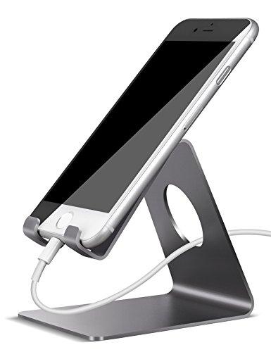 Handy Halterung, Lamicall iPhone Dock : Handyhalterung, Handy Halter, Phone Ständer, Handy Ständer für iPhone 7, 7 Plus, 6s 6 / Plus, SE, 5 5s 5c, Samsung A3 A5 J3 J5 J7 S6 S7 S8, Huawei P8 P9 P10 / Lite, Honor 6X, 8, Tisch Zubehör, Schreibtisch, E-Reader, andere Smartphone - Grau (Handy-dock)