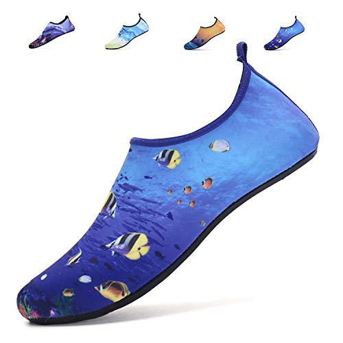 adituob Classic Athletic Barefoot Water Skin Shoes Aqua Socks for Men Surf Pool Beach Swim Exercise US 7.5-8.5 Women, 6.5-7.5 Men Meeresfisch 38-39