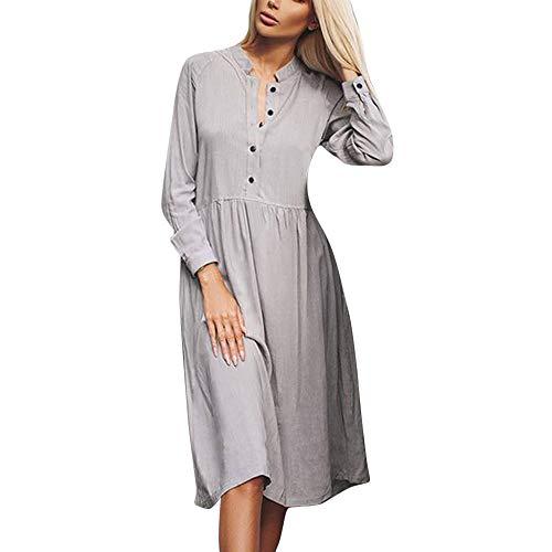 Xmiral Damen Kleid Polyester Casual Button England Solid Rock Langarm Höhe Taille Stehkragen Shirt Kleid (XS,Grau)