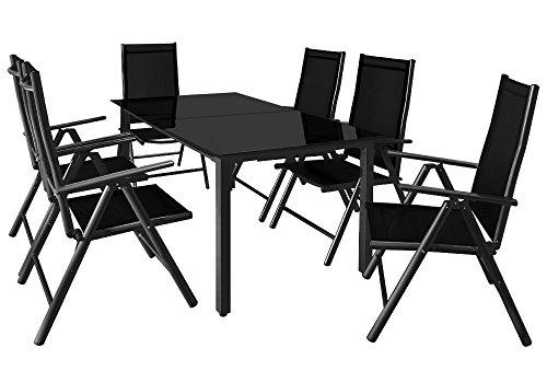 Deuba Sitzgruppe Bern 6+1 | Aluminium | 7-Fach verstellbare Hochlehner | Tisch mit Sicherheitsglas | Anthrazit - Garten Set - Schwarze Abgerundete Metall-rahmen