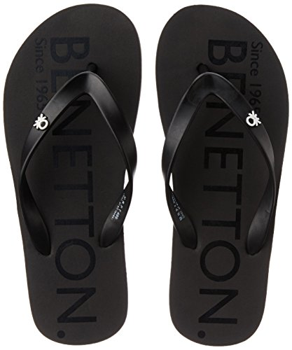 5f0a8ac4a United Colors of Benetton Men s Basic 3 Dark Grey and Black Flip-Flops and House  Slippers - 9 UK India (43 EU)