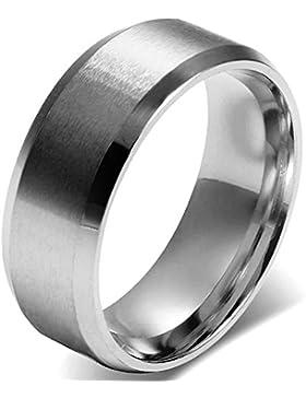 JewelryWe Schmuck 8mm Herren Ring, Polished Ehe-Verlobungs Eheringe Partnerringe Edelstahlring, Silber Bandring...