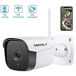 SMTALY C2 Caméra de Surveillance Caméra IP WiFi Caméra Extérieur 1080P Caméra Sécurité Etanche sans Fil/Filaire avec Vision Nocturne, Détection de Mouvement et Audio Bidirectionnel - Blanc