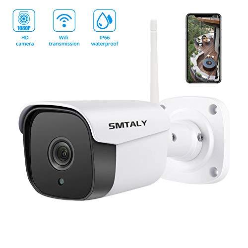 SMTALY C2 1080P Telecamera IP Esterno, Impermeabile IP66 20M Visione Notturna,Rilevamento del Movimento,Audio Bidirezionale, WIFI, IOS/Android/PC