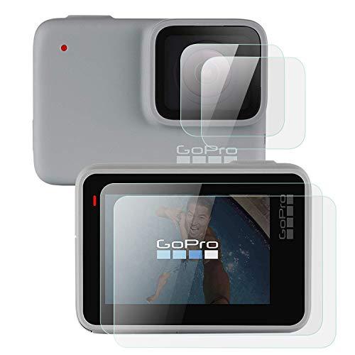 Mwoot Lot de 4 Vitres de Protection pour GoPro Hero 7 White et GoPro Hero 7 Silver- Pas pour Version Black, Anti Rayures Protecteur en Verre Trempé