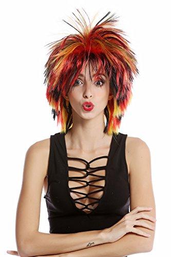 WIG ME UP ® - 91285-ZA103+ZA2B+ZA13 Perruque fan dames noir rouge or Allemagne crêpée sauvage punk style années 80