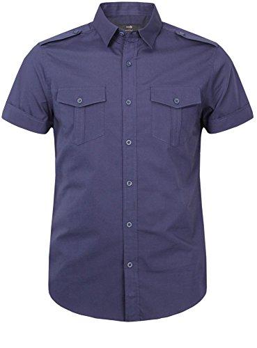 oodji Ultra Herren Gerades Kurzarmhemd mit Brusttaschen Blau (7500N)
