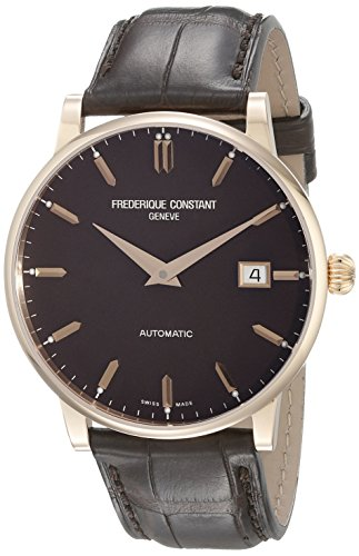 Frederique Constant Slimline FC-316C5B9 40mm Automatic Rose Gold Case Brown Leather Synthetic Sapphire Men's Watch