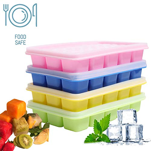 Eiswürfelform (4 Stück) Silikon Eiswürfelbehälter,BPA frei Eiswürfel Form - Eiswuerfelbehaelter Mit Deckel , 15 Würfel Eiswürfelschalen für Familie, Babynahrung, Partys und Bars