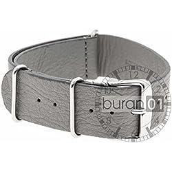 Buran01.com VK Watch Strap Light Grey Military Leather 24mm