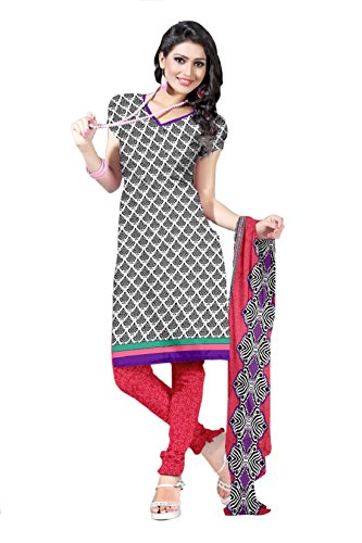 Araham Printed Grey Synthetic/ Polyester/ SoftCrepe Dress Material/ Unstitched Salwar Suit