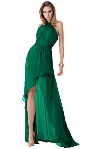 Sunvary-Halter High Low Chiffon Prom-Cartamodello per abiti da sera, da donna Dark Green