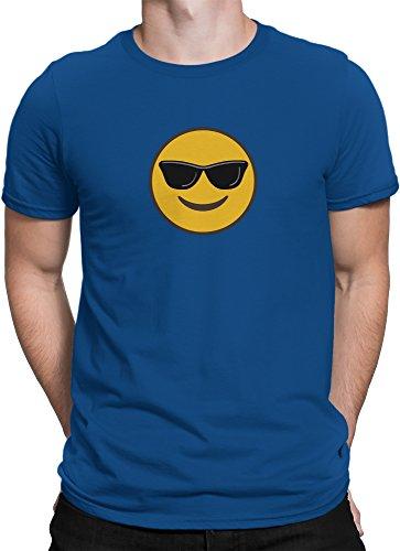 Cooler Smiley mit Sonnenbrille Emoticon Emoji / Premium Fun Motiv T-Shirt XS-5XL mit Aufdruck / Ideales Geschenk, Size:M, Color:Royal (Kostüme Emoticon Smile)