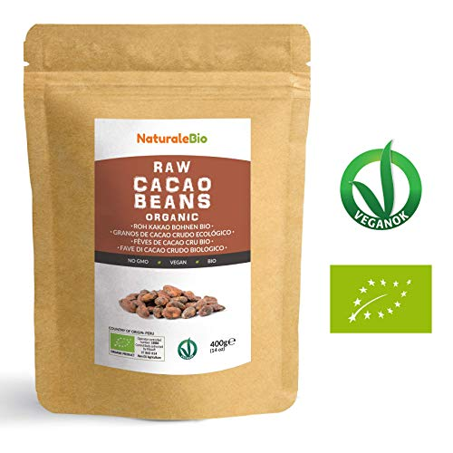 Granos de Cacao Crudo Ecológico 400g   100% Bio, Natural y Puro   Cultivado en Perú a partir de la planta Theobroma cacao   Superalimento rico en antioxidantes, minerales y vitaminas   NATURALEBIO