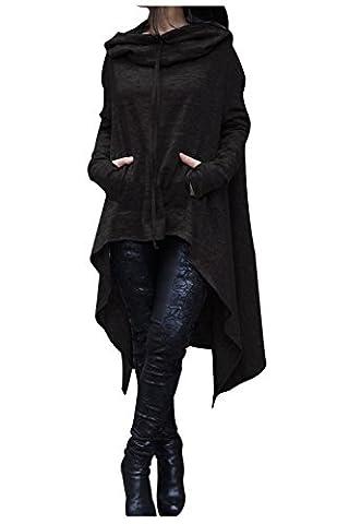 Aumir Women's Asymmetrical Hem Hooded Sweatshirt Long Sleeve Loose Casual Dress Tunic Tops