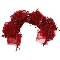VORCOOL Bustine regalo sacchetti regalo di 7 * 9cm per borse sacchetti di nozze favore borse gioielli 100 confezione vino rosso - Bustine Di Tè Nozze