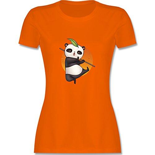 Wildnis - süßer Kampfpanda - tailliertes Premium T-Shirt mit Rundhalsausschnitt für Damen Orange