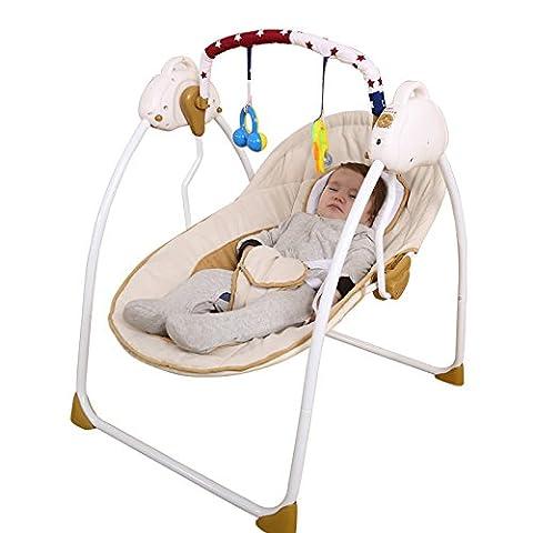 Interrupteur à bascule infantile nouveau-né Vibration contenter confortable électrique multifonction pliable réglable Musique Swing–Automatique, coffee color