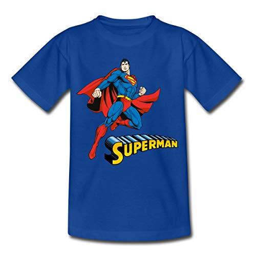 Spreadshirt DC Comics Superman Pose Schriftzug Kinder T-Shirt, 110/116 (5-6 Jahre), Royalblau