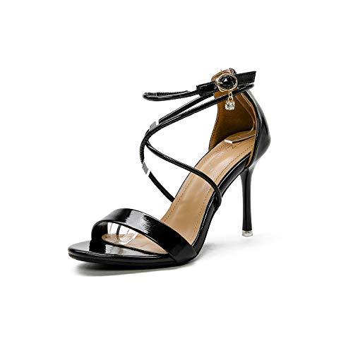 YAN Frauen High Heel Sandalen 2019 neues Patent Leder Pointed Pumps Peep Toe Sexy Stiletto Hochzeitsschuhe schwarz/Silber,Black,38 -
