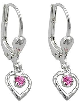 Unbespielt Schmuck Kinder Ohrschmuck Kinder Ohrringe Brisur Herz Glasstein pink aus 925 Silber 21 x 6 mm