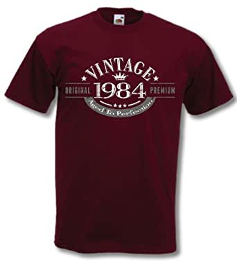 1984 Vintage Year - Aged to Perfection - 32nd Birthday Gift / Present Mens T-Shirt Burgundy 2XL