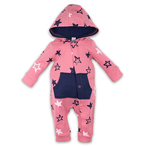 Mädchen Overall Jumpsuit Anzug Strampler Sterne rosa blau 0-3 Monate (56/62)