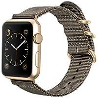Monowear MWNLGA22POSI Sangle en nylon avec fermoir en acier inoxydable brillant pour Apple Watch 42 mm
