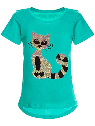 BEZLIT Mädchen Wende-Pailletten T-Shirt Katzen-Motiv Kurz-Arm 22590 Türkis Größe 164