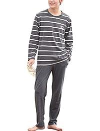 Rojeam Pigiama da Uomo Lungo Cotone Maglietta   Pantaloni Abbigliamento da  Casa 420f0f9d6cb
