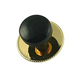 Round Onyx Dress Studs Gold (5 Pack) in Black Box