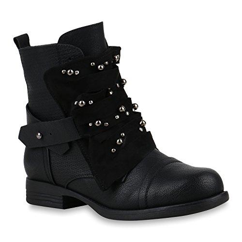 Damen Schuhe Stiefeletten Schnürstiefeletten Zierperlen Nieten Boots 155084 Schwarz Brito 38 Flandell