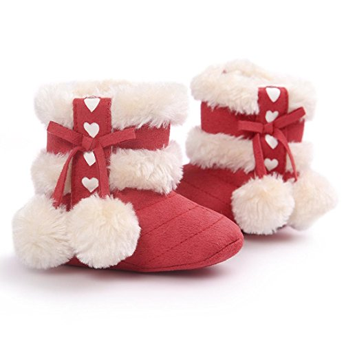 Ouneed® Krabbelschuhe , 0-18 Monate Baby Soft Sole Schneestiefel weiche Krippe Schuhe Kleinkind Stiefel Rot