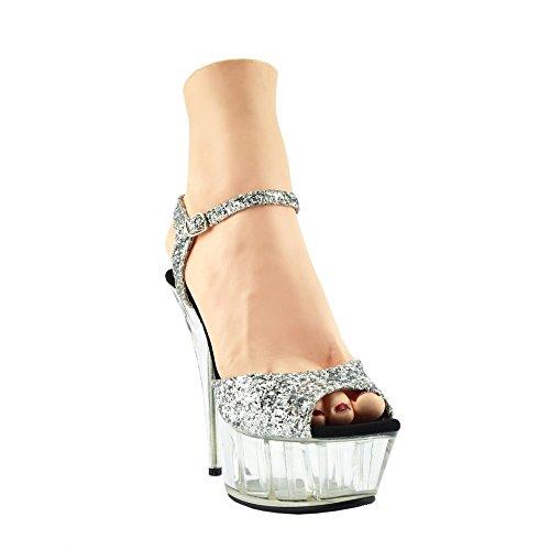 Kick Footwear - Donna Charmaine Chiaro Perspex Tacchi Alti Della Piattaforma Pole Dancing Scarpe Argento A15483