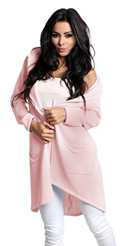 Lsecret Damen Strickjacke Cardigan Pullover Kapuze 36 38 40 (Rosa) (Kapuzen-strickjacke Rosa)