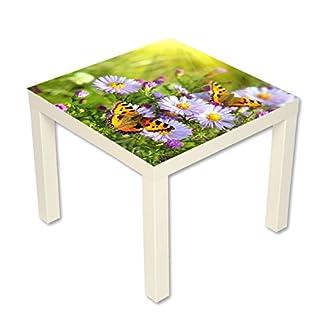 Couchtisch Beistelltisch Motiv Natur Blumen mit Schmetterlingen Länge 55 cm - Breite 55 cm - Höhe 45cm (weiß)