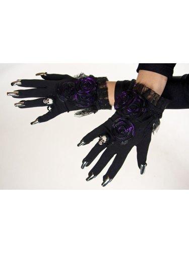 Festartikel Hirschfeld Hexe Gothic-Handschuhe mit Nägeln schwarz-lila Einheitsgröße
