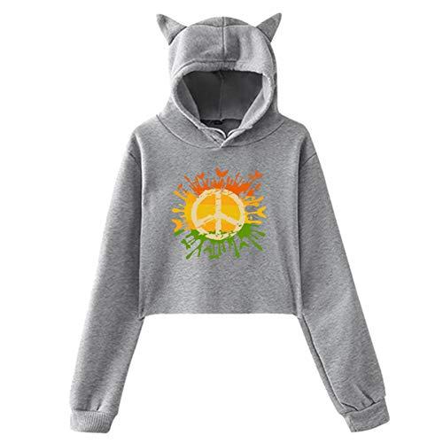 EricJohnston Niedliche Friedenszeichen Liebe Krawatte Sterben Katze Ohr Hoodie Pullover Mädchen Ernte Top Mode Warm Cool(L,Grau) -