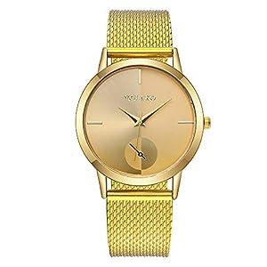 Hffan Damen Einfach Asymmetrie Armbanduhren für Frauen Freizeituhr Modisch Quarzuhr Beobachten Tabelle Handschmuck Armband Uhren Damenuhr Uhr Lederband