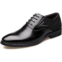 Zapatos Oxford Hombre, Cuero Derby Vestir Cordones Calzado Brogue Boda Negocios Moda Negro Marron Rojo 38-48 BK42