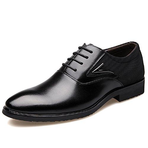 Zapatos Oxford Hombre, Cuero Derby Vestir Cordones Calzado Brogue Boda Negocios Moda Negro Marron Rojo 38-48 BK39
