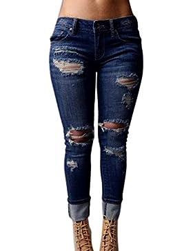 ALIKEEY 2018 ♛ Pantalones Vaqueros Flacos con Aberturas En Los Pantalones De Cintura Alta Estirados Jeans para...