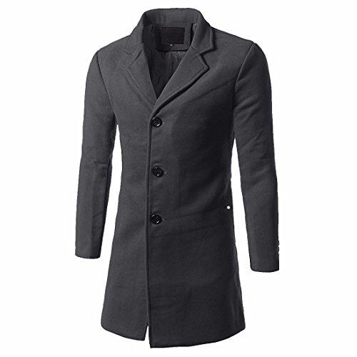 QIYUN.Z Männer Einreiher Slim Fit Lange Wollmischung Pea Coat Mantel Dunkelgrau-3