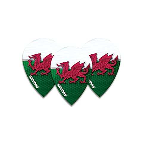 Winmau Welsh Flag Pear Dart Flights - 4 sets per pack (12 flights in total) & Red Dragon Checkout Card