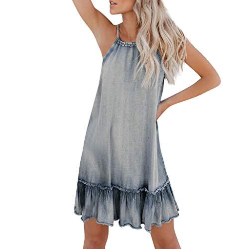 Baseball-mom-mädchen T-shirt (Damen Halter Denim-Kleid Sexy Jeanskleid Mode Clubwear Minikleid Standkleid Blusekleid Abendkleid Kurz Elegante Rückenfrei Vintage Cocktailkleid Rüschen Sommer Kleid(Blau.XXL))